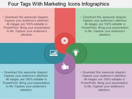 bd Four Tags With Marketing Icons Infographics Flat Powerpoint Design