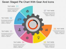bd Seven Staged Pie Chart With Gear And Icons Flat Powerpoint Design
