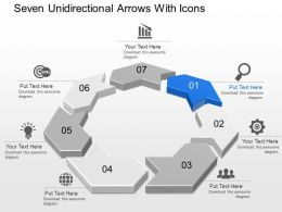 Bd Seven Unidirectional Arrows With Icons Powerpoint Template