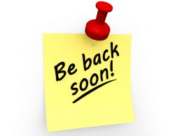 Be Back Soon Text On Sticky Note Stock Photo