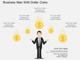 be Business Man With Dollar Coins Flat Powerpoint Design