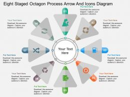 be Eight Staged Octagon Process Arrow And Icons Diagram Flat Powerpoint Design
