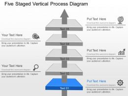 Be Five Staged Vertical Process Diagram Powerpoint Template Slide