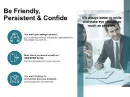 Be Friendly Persistent And Confide Products Ppt Powerpoint Presentation Diagram Lists