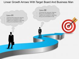 Be Linear Growth Arrows With Target Board And Business Man Powerpoint Template