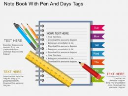 be Note Book With Pen And Days Tags Flat Powerpoint Design