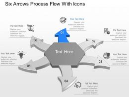 Be Six Arrows Process Flow With Icons Powerpoint Template