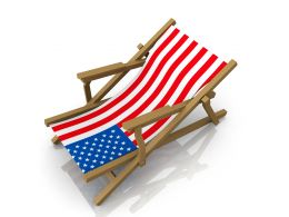 Beach Chair With Flag Design Stock Photo