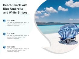 Beach Shack With Blue Umbrella And White Stripes