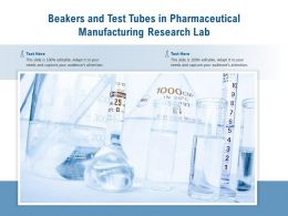 Beakers And Test Tubes In Pharmaceutical Manufacturing Research Lab