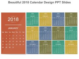 beautiful 2018 calendar design ppt slides