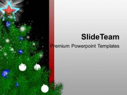 Beautiful Christmas Tree With Blue Star Powerpoint Templates Ppt Themes And Graphics 0113