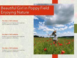 Beautiful Girl In Poppy Field Enjoying Nature