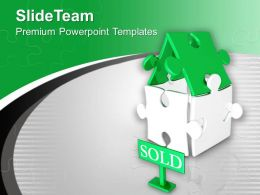 Beautiful House Made By Puzzles Sold Powerpoint Templates Ppt Themes And Graphics 0313