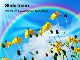Beautiful Nature Pictures Download Powerpoint Templates Yellow Flowers With Rainbow Growth Ppt Slide