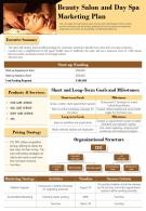 Beauty Salon And Day Spa Marketing Plan Presentation Report Infographic PPT PDF Document