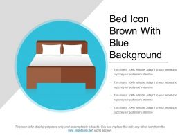 Bed Icon Brown With Blue Background
