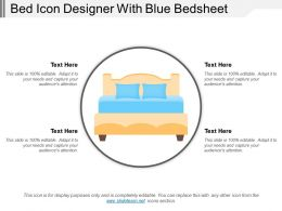 Bed Icon Designer With Blue Bedsheet