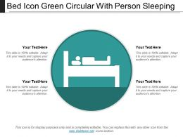 Bed Icon Green Circular With Person Sleeping