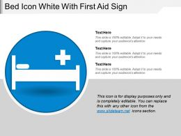 Bed Icon White With First Aid Sign