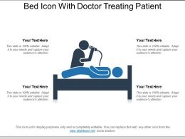 Bed Icon With Doctor Treating Patient