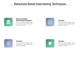 Behavioral Based Interviewing Techniques Ppt Powerpoint Presentation Icon Elements Cpb