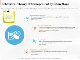 Behavioral Theory Of Management By Elton Mayo Ppt Powerpoint Professional