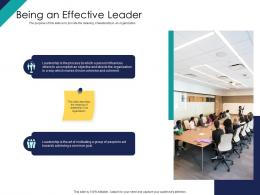 Being An Effective Leader Ppt Powerpoint Presentation File Background Images