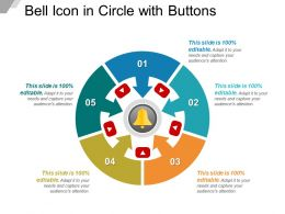 Bell Icon In Circle With Buttons