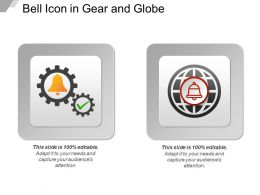 Bell Icon In Gear And Globe