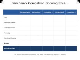 Benchmark Competition Showing Price Distribution Channels And Financial Resources