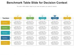 Benchmark Table Chart For Decision Context Infographic Template