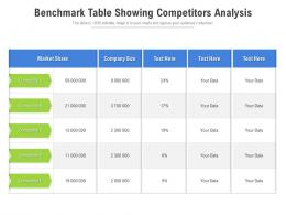 Benchmark Table Showing Competitors Analysis