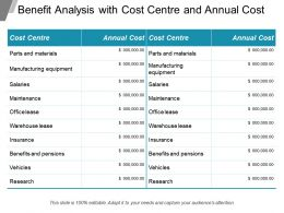 Benefit Analysis With Cost Center And Annual Cost
