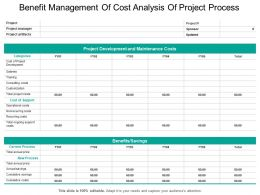 Benefit Management Of Cost Analysis Of Project Process