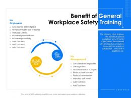 Benefit Of General Workplace Safety Training Management Ppt Powerpoint Presentation File Deck