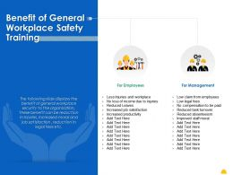 Benefit Of General Workplace Safety Training Ppt Powerpoint Presentation Summary Master Slide