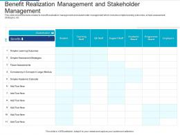 Benefit Realization Management Analyzing Performing Stakeholder Assessment