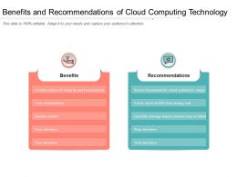 Benefits And Recommendations Of Cloud Computing Technology