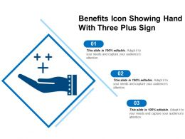 Benefits Icon Showing Hand With Three Plus Sign
