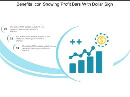 Benefits Icon Showing Profit Bars With Dollar Sign