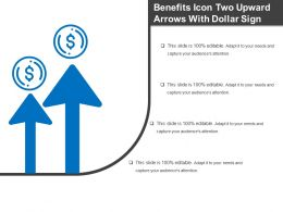 Benefits Icon Two Upward Arrows With Dollar Sign