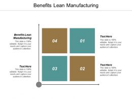 Benefits Lean Manufacturing Ppt Powerpoint Presentation Styles Brochure Cpb