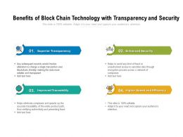 Benefits Of Block Chain Technology With Transparency And Security
