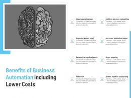 Benefits Of Business Automation Including Lower Costs