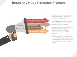 Benefits Of Continual Improvement Procedure Powerpoint Templates