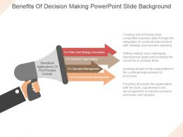 Benefits Of Decision Making Powerpoint Slide Background