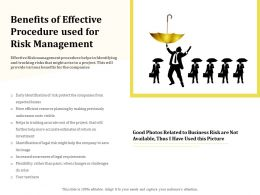 Benefits Of Effective Procedure Used For Risk Management