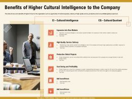 Benefits Of Higher Cultural Intelligence To The Company M1006 Ppt Powerpoint Presentation File Model