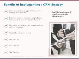 Benefits Of Implementing A CRM Strategy Ppt Powerpoint File Formats